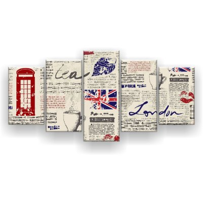 Quadro Decorativo London 129x61 5pc Sala