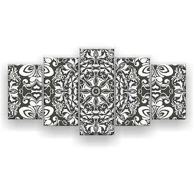 Quadro Decorativo Mandala Cinza 129x61 5pc Sala