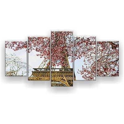 Quadro Decorativo Árvore Torre 129x61 5pc Sala