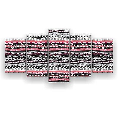 Quadro Decorativo Coração Linhas 129x61 5pc Sala