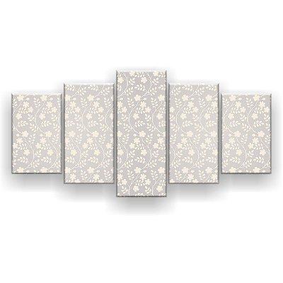 Quadro Decorativo Florzinhas Brancas 129x61 5pc Sala