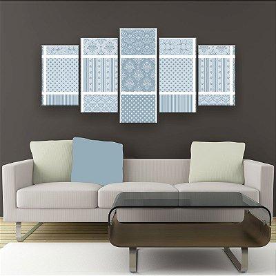 Quadro Decorativo Quadrinhos Azuis 129x61 5pc Sala