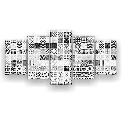 Quadro Decorativo Quadrinhos Formas 129x61 5pc Sala