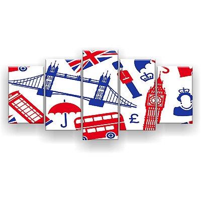 Quadro Decorativo Inglaterra 129x61 5pc Sala