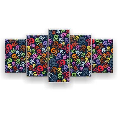 Quadro Decorativo Caveirinhas Coloridas 129x61 5pc Sala