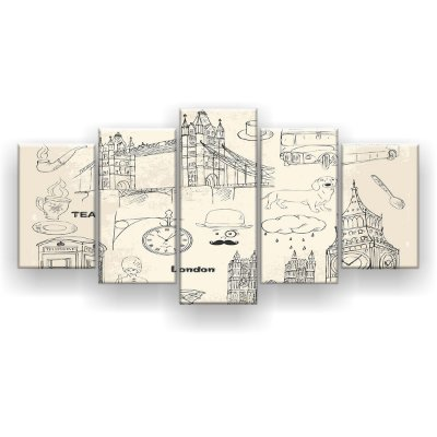 Quadro Decorativo Desenho London 129x61 5pc Sala