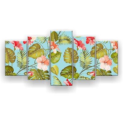 Quadro Decorativo Flores E Folhas 129x61 5pc Sala