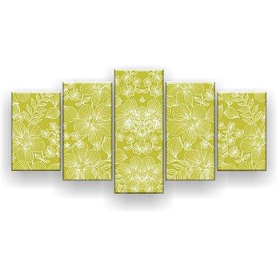 Quadro Decorativo Flor Verde 129x61 5pc Sala