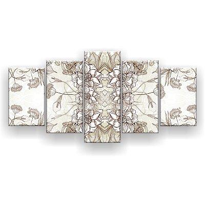 Quadro Decorativo Pattern Flores 129x61 5pc Sala
