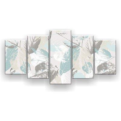 Quadro Decorativo Folhas Azuis E Cinza 129x61 5pc Sala