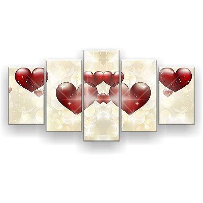 Quadro Decorativo Love Corações 129x61 5pc Sala