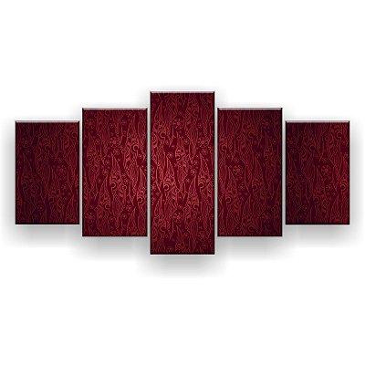 Quadro Decorativo Textura Vermelha 129x61 5pc Sala