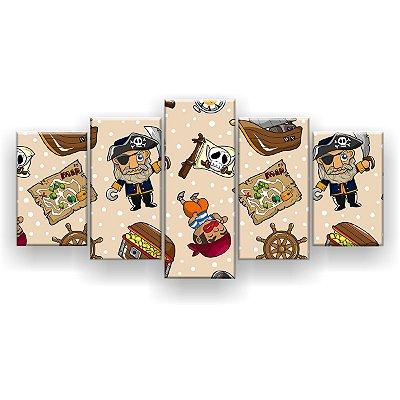 Quadro Decorativo Piratas Pattern 129x61 5pc Sala