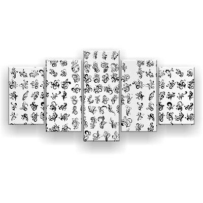 Quadro Decorativo Desenhos Pretos 129x61 5pc Sala