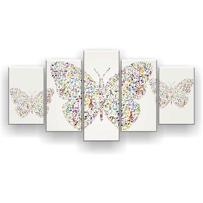 Quadro Decorativo Borboletas Notas Musicais 129x61 5pc Sala