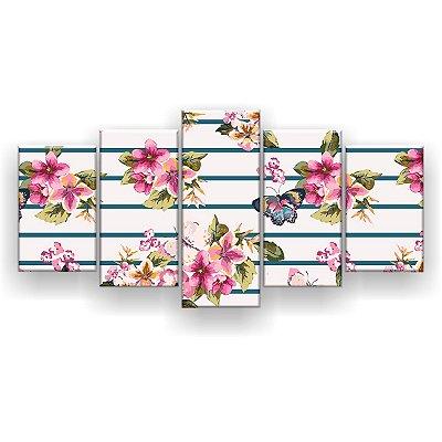 Quadro Decorativo Borboleta Flores 129x61 5pc Sala