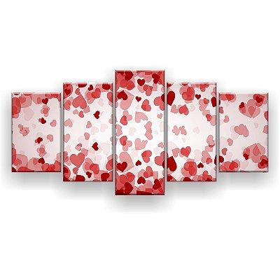 Quadro Decorativo Corações Apaixonados 129x61 5pc Sala