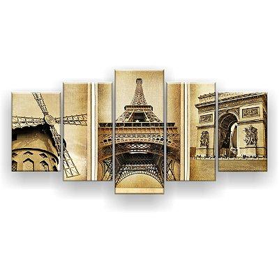 Quadro Decorativo Torre Moinho 129x61 5pc Sala