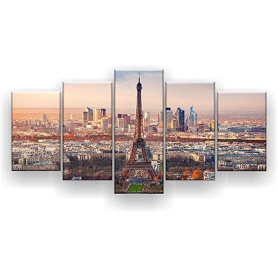 Quadro Decorativo Torre City 129x61 5pc Sala