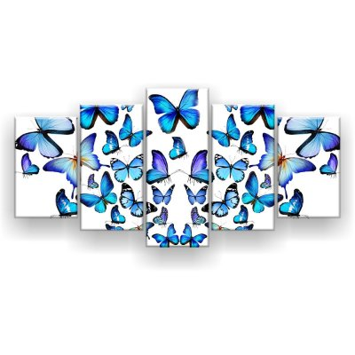 Quadro Decorativo Borboletas Azuis 129x61 5pc Sala