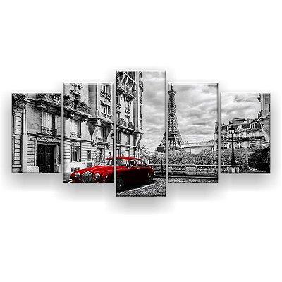 Quadro Decorativo Carro Vermelho 129x61 5pc Sala