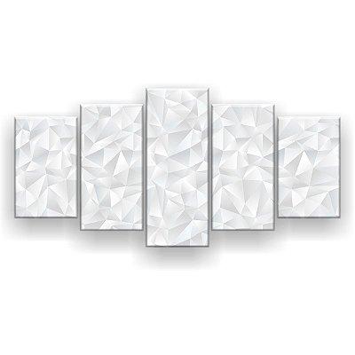Quadro Decorativo Textura Branca 129x61 5pc Sala