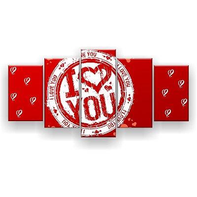 Quadro Decorativo I Love You 129x61 5pc Sala
