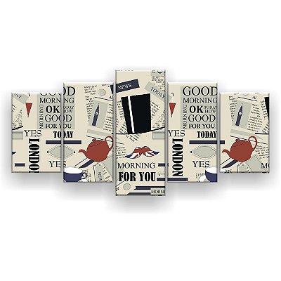 Quadro Decorativo London Mustache 129x61 5pc Sala