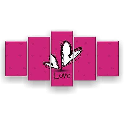 Quadro Decorativo Love Rosa 129x61 5pc Sala