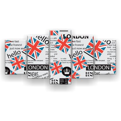 Quadro Decorativo London Coroa 129x61 5pc Sala