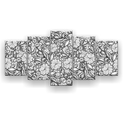 Quadro Decorativo Desenho Floral Preto 129x61 5pc Sala
