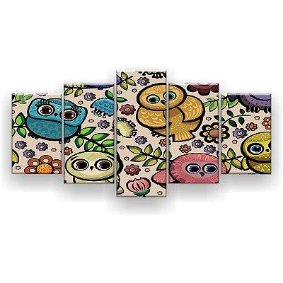 Quadro Decorativo Corujinhas 129x61 5pc Sala