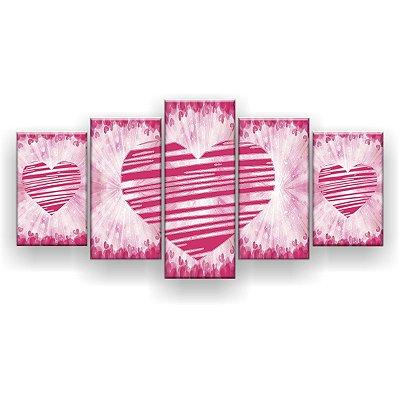 Quadro Decorativo Três Corações Rosa 129x61 5pc Sala
