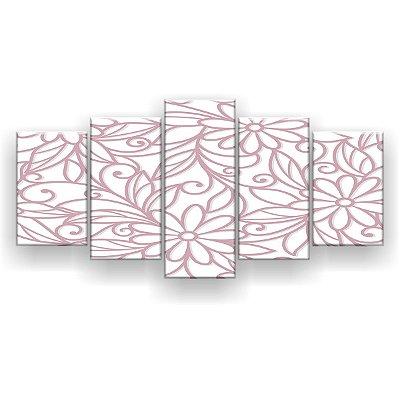 Quadro Decorativo Floral Rose 129x61 5pc Sala