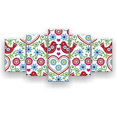 Quadro Decorativo Beijo De Pássaros 129x61 5pc Sala