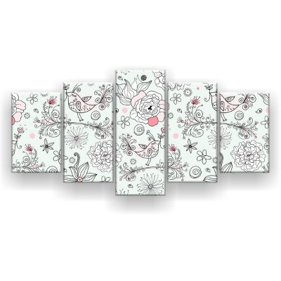 Quadro Decorativo Lindo Pássaro 129x61 5pc Sala