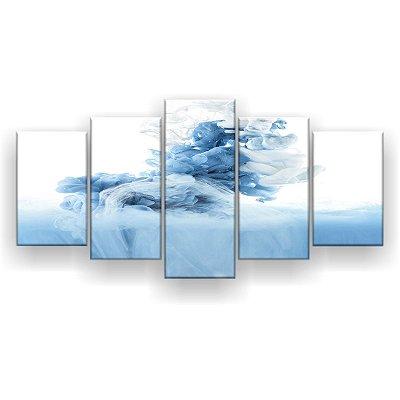 Quadro Decorativo Fumaça Azul 129x61 5pc Sala