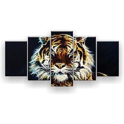 Quadro Decorativo Tigre Brilho 129x61 5pc Sala