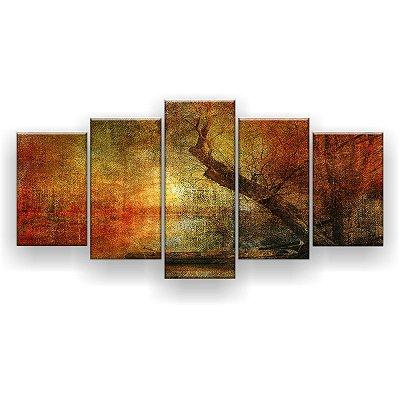 Quadro Decorativo Pintura Galhos 129x61 5pc Sala
