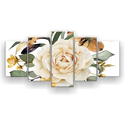 Quadro Decorativo Flor Grande 129x61 5pc Sala