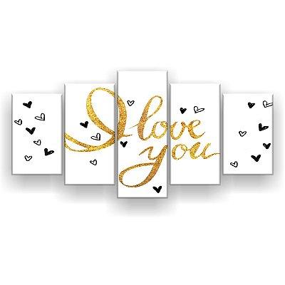 Quadro Decorativo Love U Dourado 129x61 5pc Sala