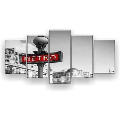 Quadro Decorativo Placa Metrô 129x61 5pc Sala
