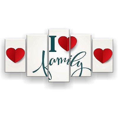 Quadro Decorativo I Love Family 129x61 5pc Sala