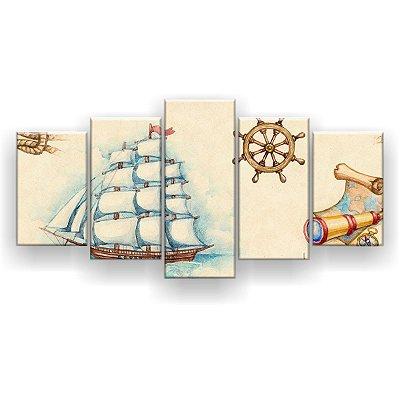 Quadro Decorativo Barco A Vela 129x61 5pc Sala
