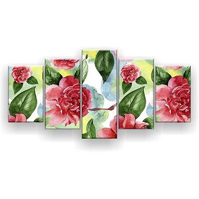 Quadro Decorativo Pintura Flores Vermelhas 129x61 5pc Sala