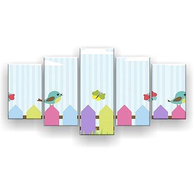 Quadro Decorativo Pássaros E Borboletas 129x61 5pc Sala