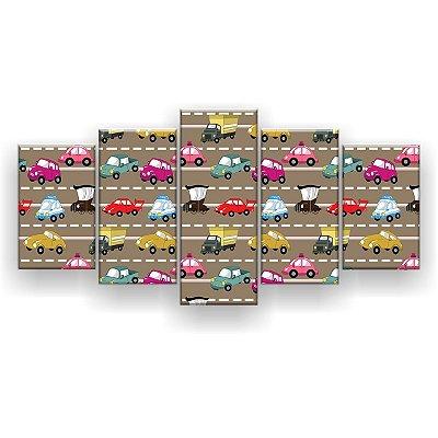 Quadro Decorativo Carros Coloridos 129x61 5pc Sala