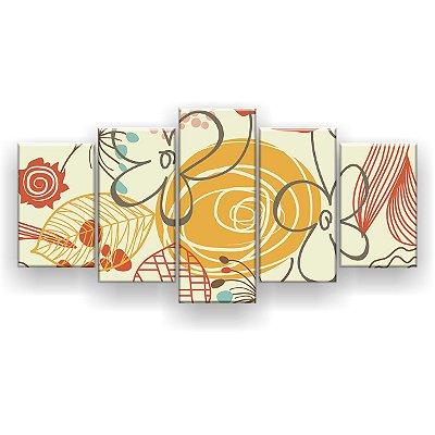 Quadro Decorativo Florais Pattern 129x61 5pc Sala