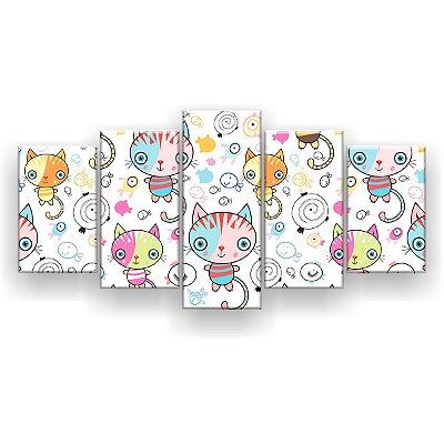 Quadro Decorativo Desenho Gatinhos 129x61 5pc Sala