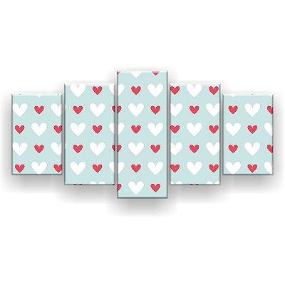 Quadro Decorativo Coraçõeszinhos Branco E Vermelho 129x61 5pc Sala